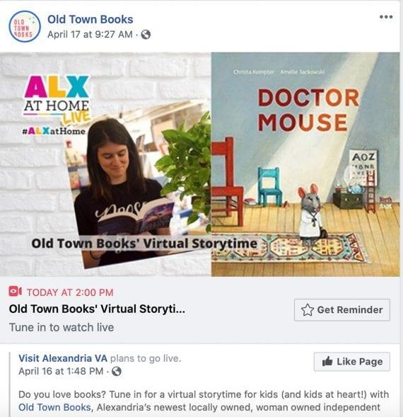 Old Town Books sur Facebook publie un événement virtuel de narration.