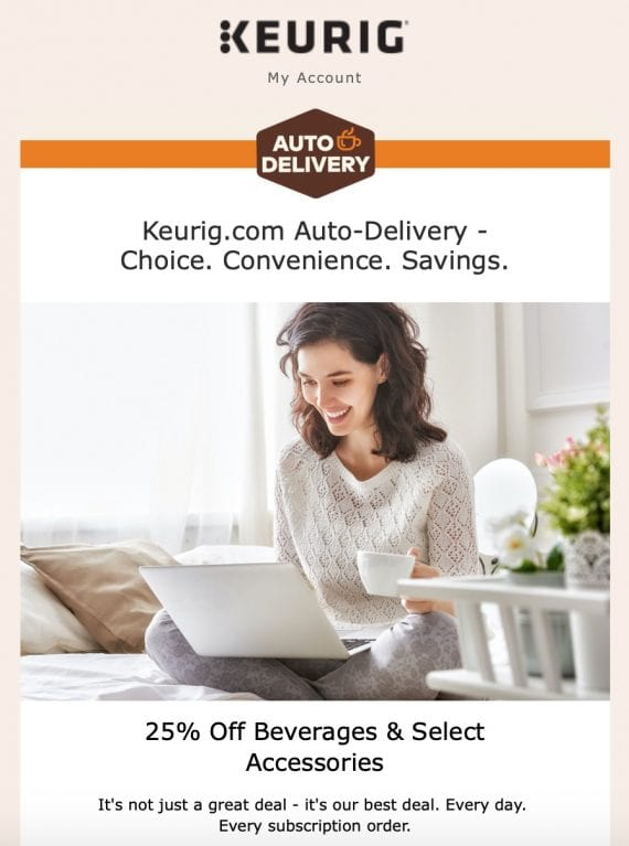 Un courriel de Keurig, faisant la promotion de leur programme de livraison automatique à prix réduit.