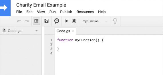 Utilisez l'éditeur de script pour écrire des fonctions JavaScript à exécuter sur la feuille de calcul.