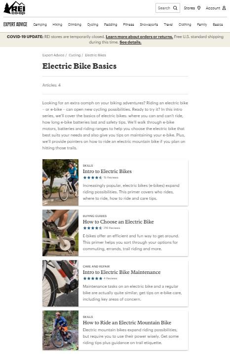 La page du pilier de navigation des vélos électriques de REI présente le sujet, puis les liens vers chaque page du cluster.