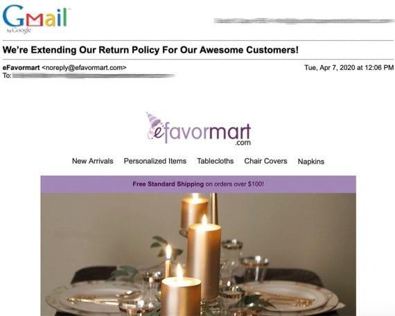 Efavormart.com a antidaté la politique de retour aux commandes passées depuis le 1er janvier 2020. Il a prolongé les remboursements de 30 à 60 jours et le crédit de magasin de 60 à 180 jours.