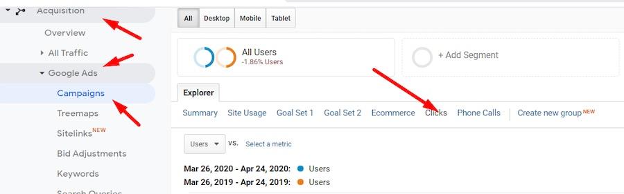 Pour analyser l'évolution des performances de Google Ads, allez dans Acquisition > Google Ads > Campagnes > Clics.» width=»900″ height=»281″ srcset=»https://repha.fr/wp-content/uploads/2020/04/1588085414_595_Utiliser-Google-Analytics-pour-repondre-a-Covid-19.jpg 900w, https://www.practicalecommerce.com/wp-content/uploads/2020/04/Google-Analytics-Pic-6-300×94.jpg 300w, https://www.practicalecommerce.com/wp-content/uploads/2020/04/Google-Analytics-Pic-6-570×178.jpg 570w, https://www.practicalecommerce.com/wp-content/uploads/2020/04/Google-Analytics-Pic-6-768×240.jpg 768w, https://www.practicalecommerce.com/wp-content/uploads/2020/04/Google-Analytics-Pic-6-150×47.jpg 150w, https://www.practicalecommerce.com/wp-content/uploads/2020/04/Google-Analytics-Pic-6-500×156.jpg 500w» sizes=»(max-width : 900px) 100vw, 900px»/></p> <p id=