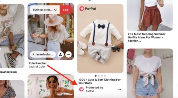 PatPat, un détaillant, achète des épingles promotionnelles pour envoyer les acheteurs sur son site web.