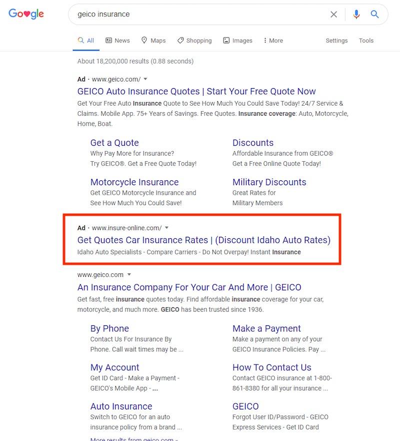 L'annonce de Insure-online.com tente de se connecter à l'Idaho, l'état de l'auteur.