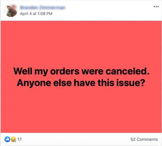 Une plainte concernant l'annulation d'une commande en ligne. Postée sur Facebook, et recueillant plus de 50 commentaires et réactions tristes.