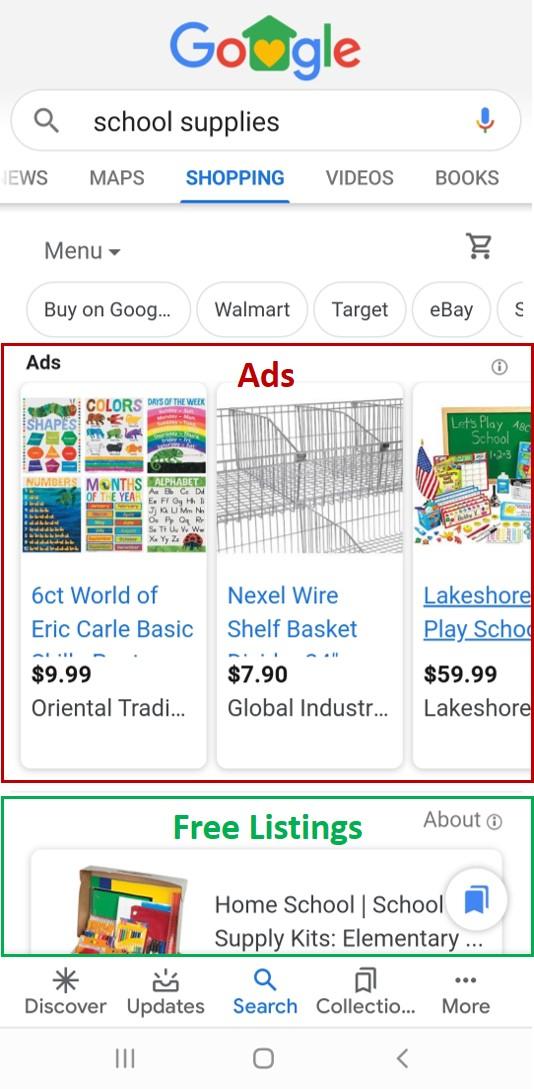 Les nouvelles listes d'achats gratuits de Google apparaissent sous les annonces dans l'onglet des achats.