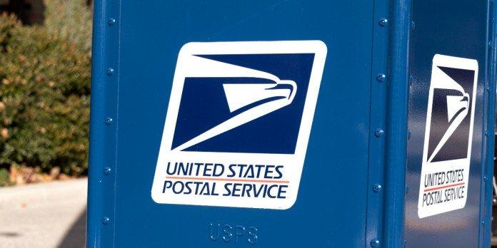 Boîte aux lettres bleue du service postal américain