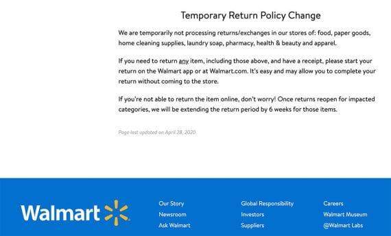 La nouvelle politique de retour et d'échange de Walmart stipule