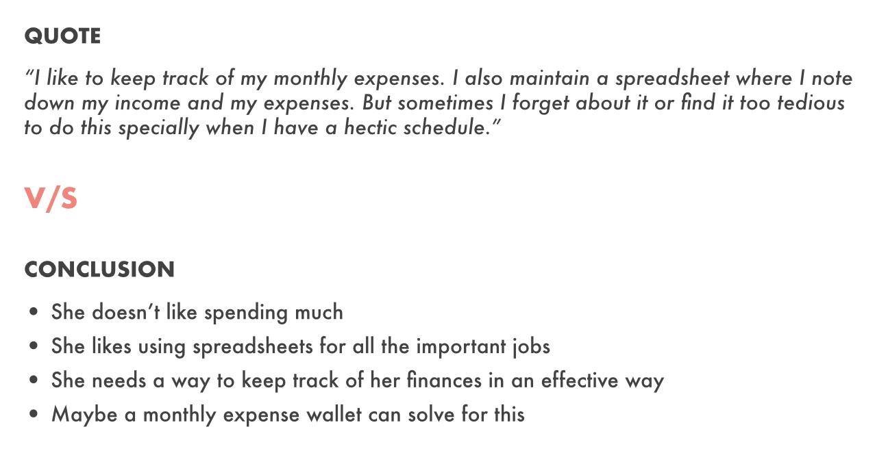 L'utilisateur mentionne qu'elle suit ses dépenses quotidiennes sur des feuilles de calcul tandis que le preneur de notes conclut qu'elle adore les feuilles de calcul