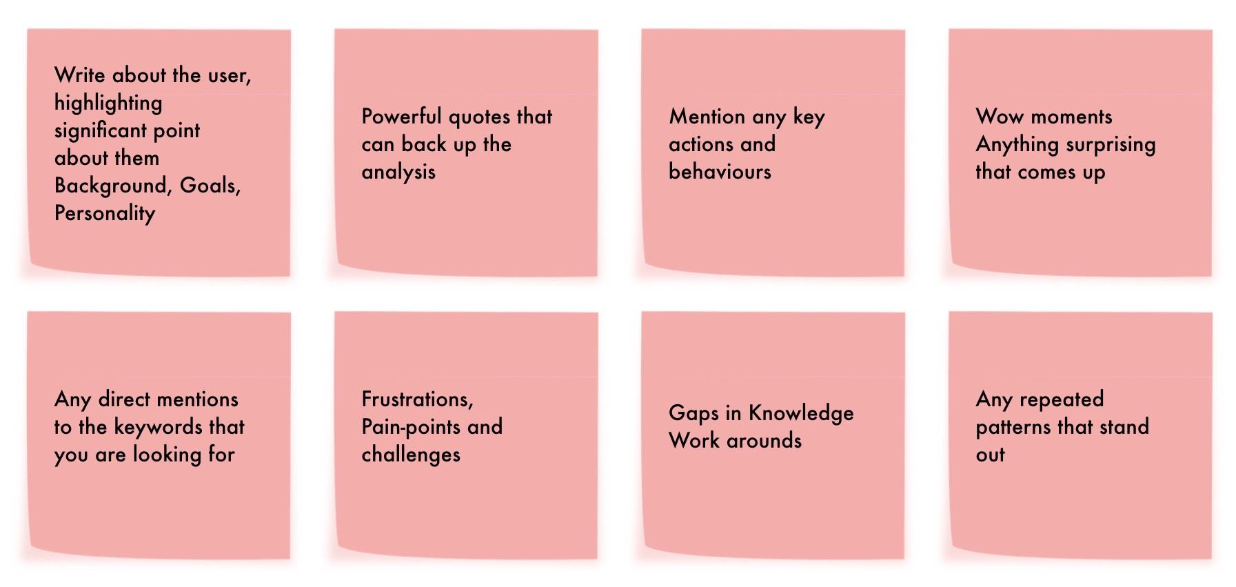 À propos de l'utilisateur, citations, actions et comportements, moments de surprise, frustrations, mots clés de l'étude