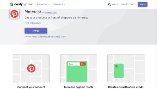 Pinterest App sur le Shopify App Store.