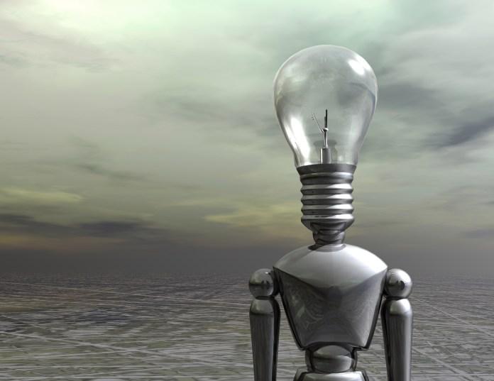 Un robot d'intelligence artificielle avec une idée brillante