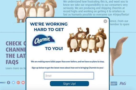 Page Charmin expliquant comment ils fabriquent plus de papier toilette, avec inscription par e-mail pour être averti.
