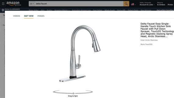 Amazon permet aux vendeurs tiers, y compris les entreprises de DTC telles que Delta Faucets, d'ajouter des animations de produits à 360 degrés.