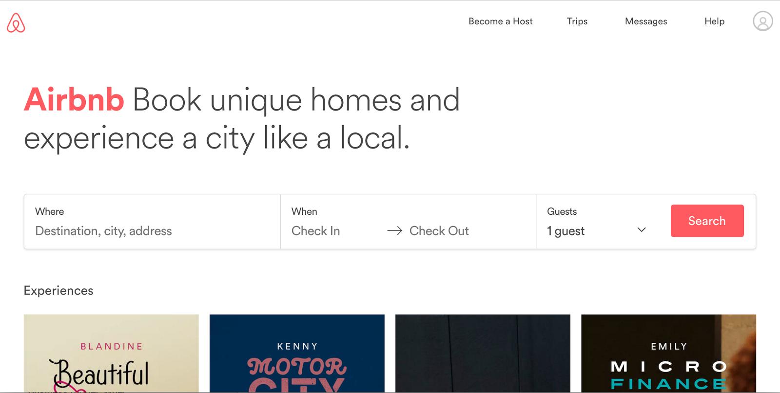 Page d'accueil de l'Airbnb
