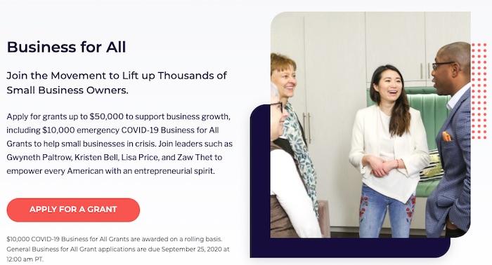 Business For All offre des subventions d'urgence de 10 000 dollars aux petites entreprises touchées par le Covid-19.