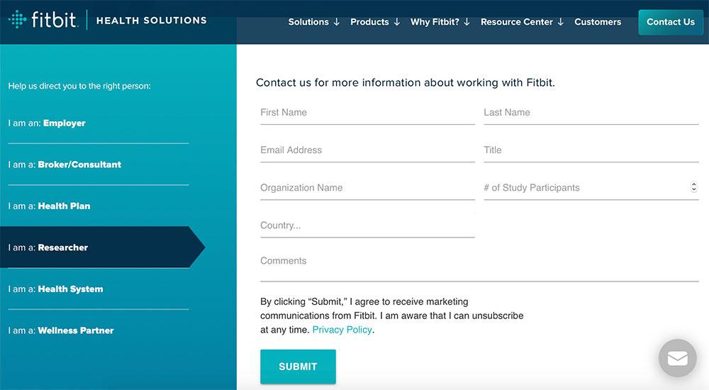Capture d'écran du formulaire de contact sur le site de santé de Fitbit