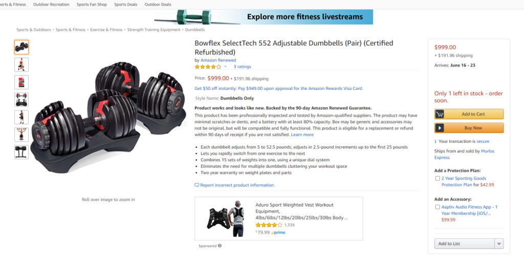 Amazon Renewed Bowflex 552 Dumbbells