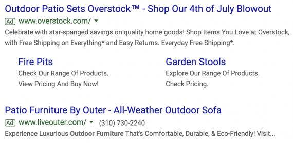 Dans cet exemple, les deux annonces ne présentent que deux titres. La description de la deuxième annonce (