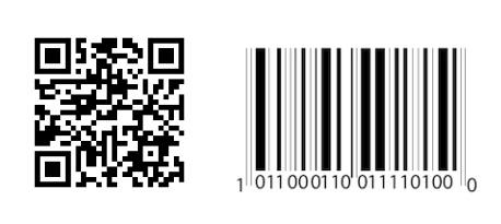 Un code-barres QR (à gauche) organise les données horizontalement et verticalement. Un code-barres linéaire (à droite) stocke les données uniquement horizontalement.