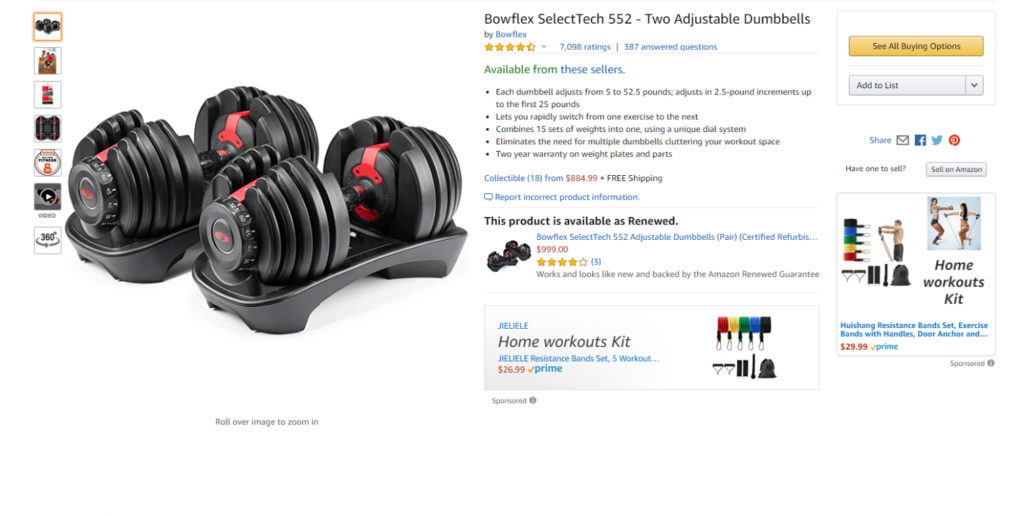 Amazon Bowflex 552 Dumbbells