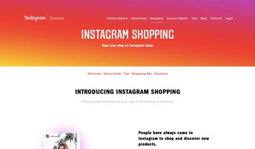 Achats sur Instagram