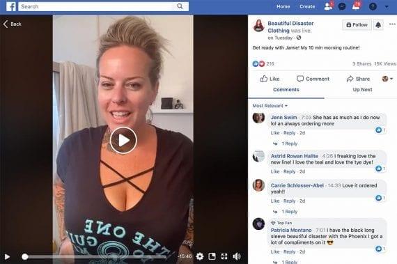 Beautiful Disaster Clothing est un exemple de marque qui utilise le streaming en direct pour impliquer son audience sur les réseaux sociaux.