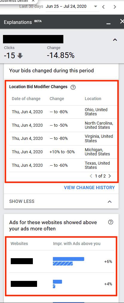 Cet écran affiche les modifications des offres au cours de la période ainsi qu'une liste des concurrents. Les publicités du principal concurrent sont apparues plus élevées 6% du temps.