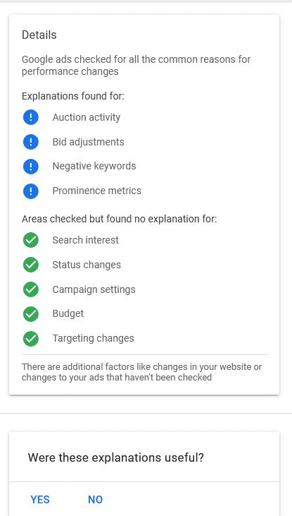 Les explications incluent neuf zones d'un compte Google Ads.