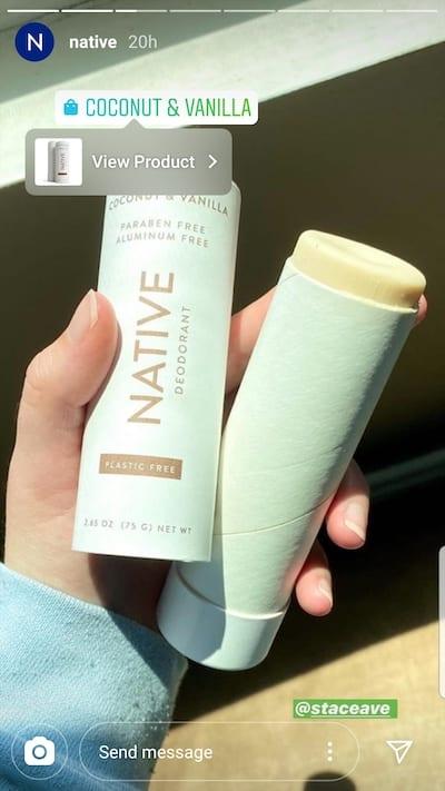Native, une entreprise de déodorants naturels, a republié l'histoire d'un utilisateur, puis a étiqueté le produit pour faciliter ses achats.