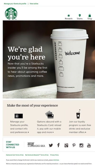 Courriel de bienvenue de Starbucks aux nouveaux