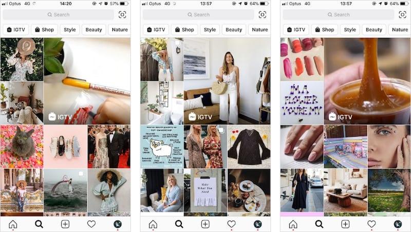 Exemples de pages Explorer avec des articles «Boutique». Image gracieuseté de Later.