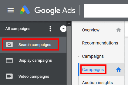 Assurez-vous que vos campagnes sur le Réseau de Recherche sont diffusées au CPC manuel ou optimisé. Accédez ensuite à ces campagnes en cliquant sur