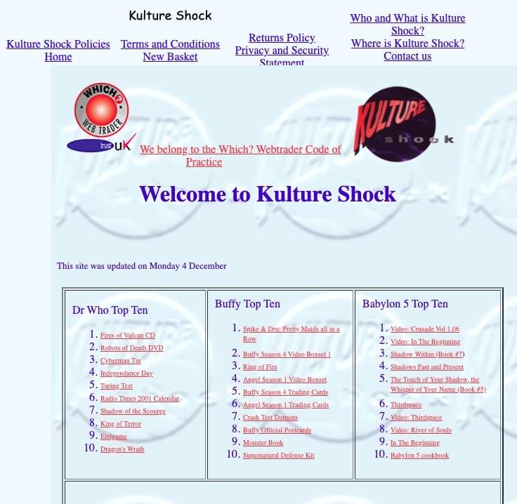 Site de commerce électronique de l'auteur en décembre 2000. Source: Wayback Machine.