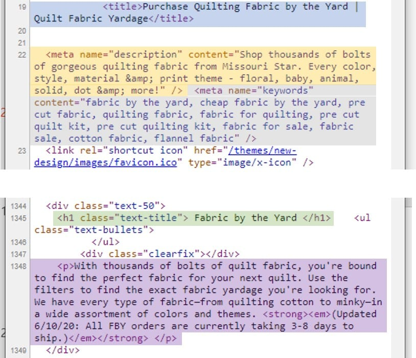 Les éléments SEO importants dans le code incluent la balise title (