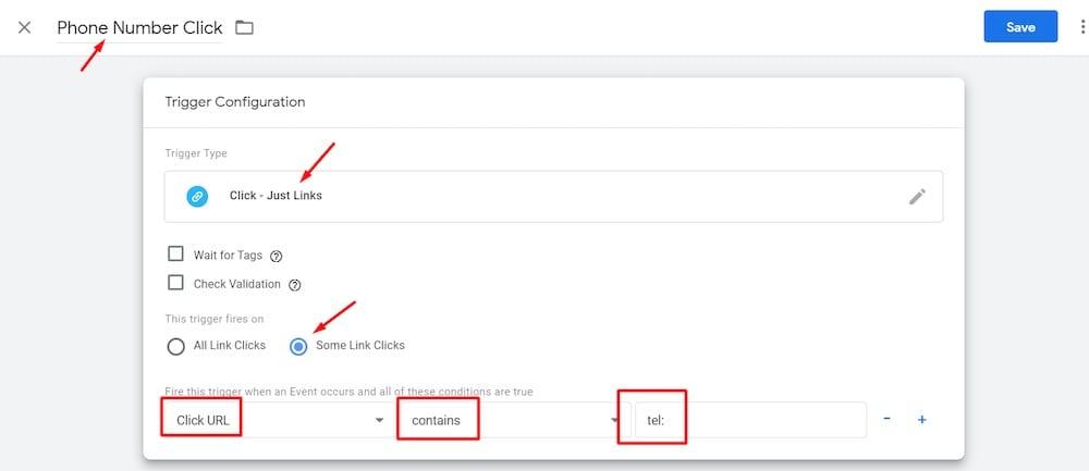 Pour suivre les clics sur les numéros de téléphone, créez un déclencheur dans Google Tag Manager similaire au suivi des clics sur les boutons, ci-dessus. L'exception est de définir le «Click URL» = «contains» = «tel».