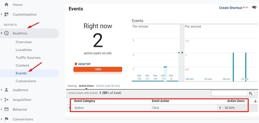 Pour confirmer le nouvel événement, accédez à Google Analytics et utilisez les rapports en temps réel dans Temps réel> Événements. «Width =» 1000 «height =» 477 «srcset =» https://566763.smushcdn.com/754212/wp-content/uploads /2020/08/Google-Tag-Manager-8.jpg?lossy=1&strip=1&webp=1 1000w, https://566763.smushcdn.com/754212/wp-content/uploads/2020/08/Google-Tag- Manager-8-300×143.jpg? Lossy = 1 & strip = 1 & webp = 1 300w, https://566763.smushcdn.com/754212/wp-content/uploads/2020/08/Google-Tag-Manager-8-570×272.jpg ? lossy = 1 & strip = 1 & webp = 1 570w, https://566763.smushcdn.com/754212/wp-content/uploads/2020/08/Google-Tag-Manager-8-768×366.jpg?lossy=1&strip=1&webp= 1 768w, https://566763.smushcdn.com/754212/wp-content/uploads/2020/08/Google-Tag-Manager-8-150×72.jpg?lossy=1&strip=1&webp=1 150w, https: // 566763.smushcdn.com/754212/wp-content/uploads/2020/08/Google-Tag-Manager-8-500×239.jpg?lossy=1&strip=1&webp=1 500w «tailles =» (largeur max: 1000px) 100vw , 1 000 px «/></p> <p id=