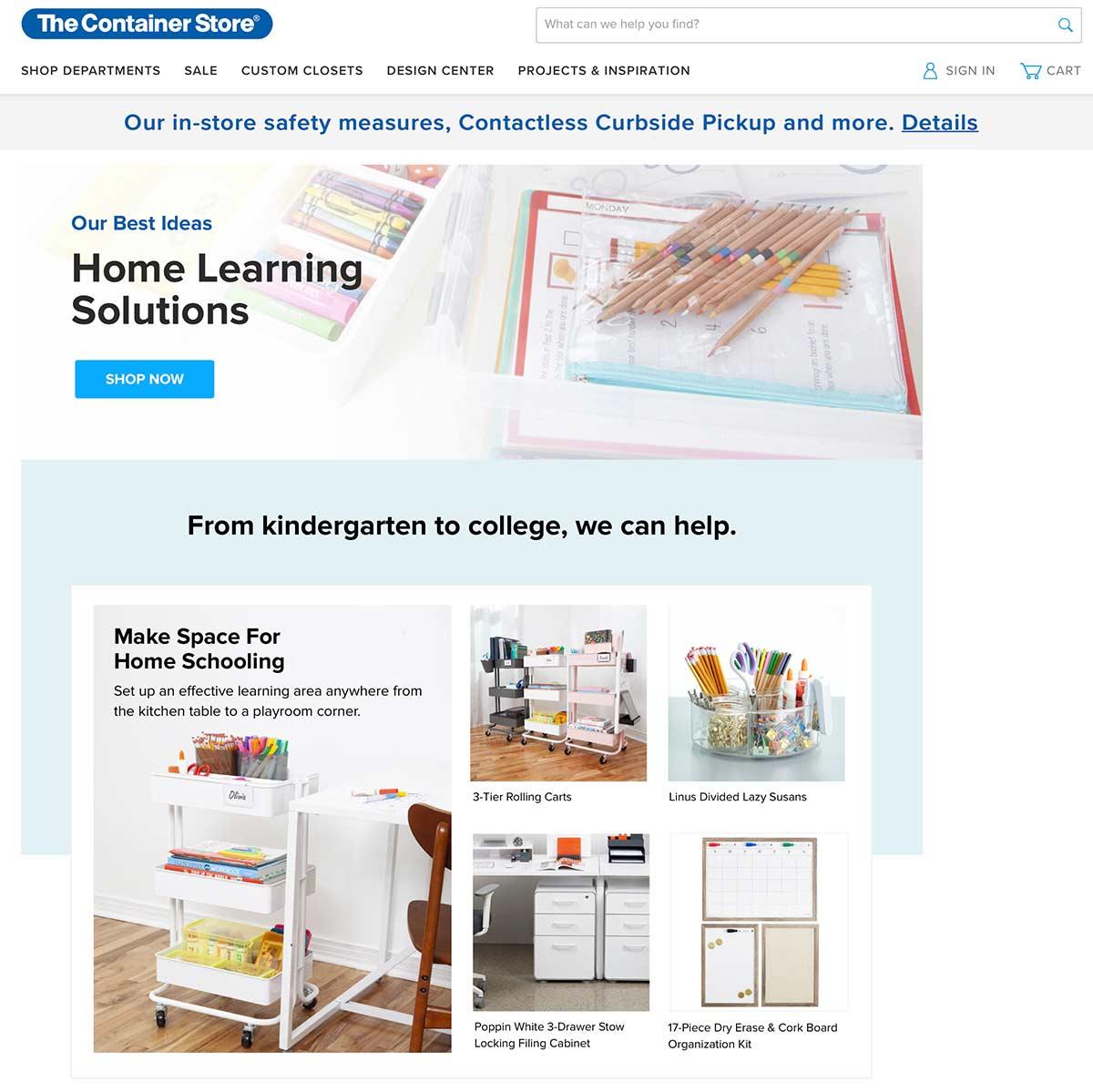 La page de destination du Container Store pour l'enseignement à domicile