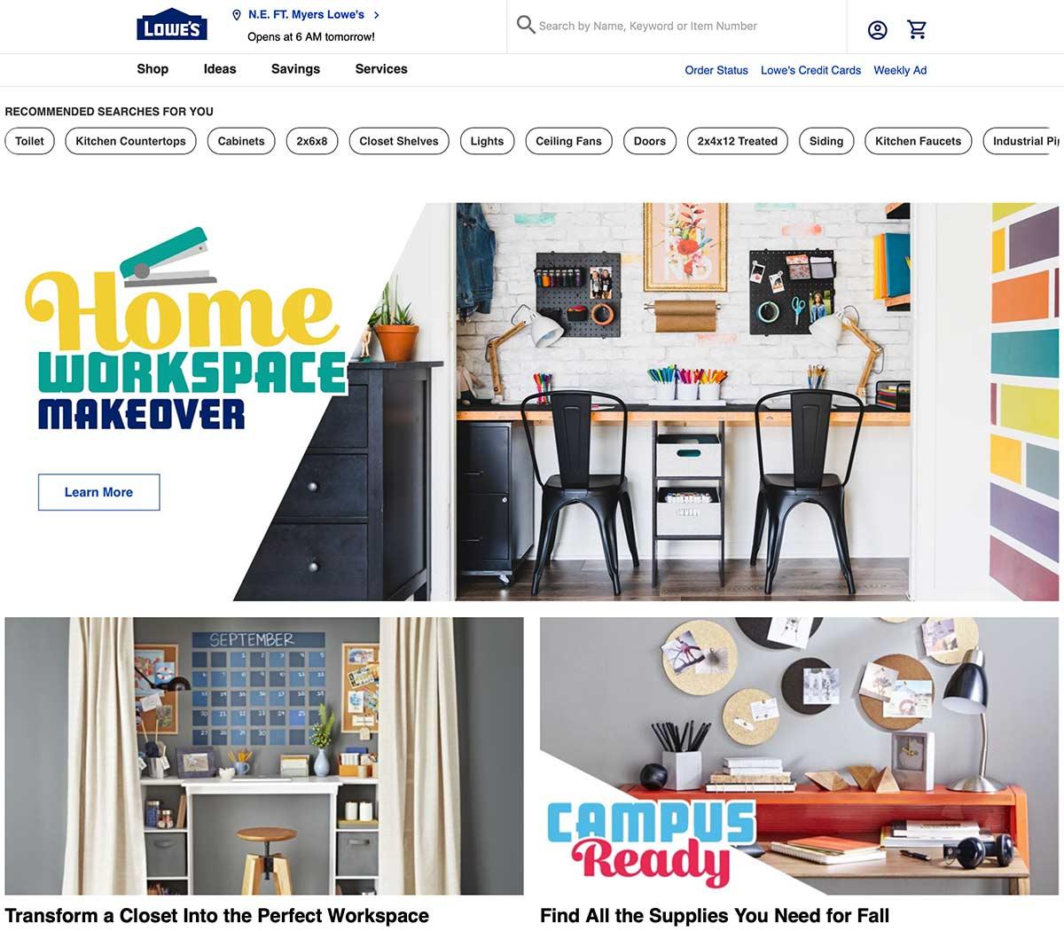 Page d'accueil de Lowe avec espace de bureau à domicile