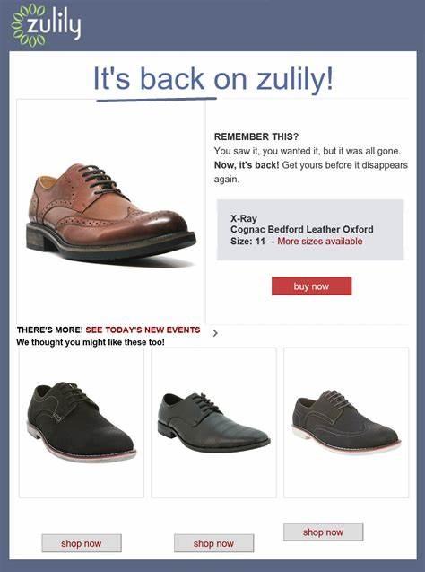Créez des e-mails déclenchés pour alerter les acheteurs de la disponibilité des produits lorsque l'inventaire est faible. Cet exemple provient de Zulily, qui vend des vêtements et des articles pour la maison en ligne.