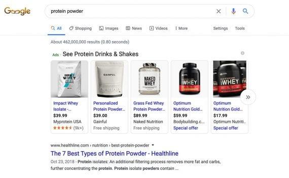 Le marketing par moteur de recherche décrit la publicité sur les moteurs de recherche et les réseaux publicitaires. Cet exemple, tiré d'une page de résultats de recherche Google, concerne les annonces